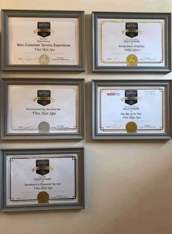 Vita Skin Spa Certificates